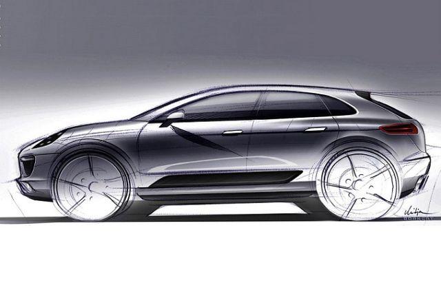 Szkic przedstawiający nowe Porsche Macan