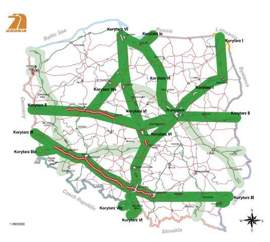 Paneuropejskie korytarze transportowe przebiegające przez Polskę.